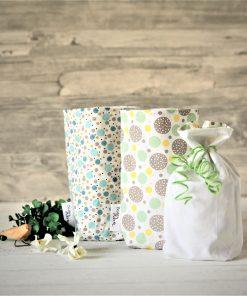 Geschenkbeutel Punkte grün gelb