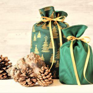 Geschenkbeutel Weihnachten Tannenwald gold