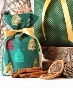 Geschenkbeutel Weihnachten Tannenwald bunt