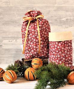 Geschenkbeutel Weihnachten Golden Snowflakes