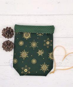 Geschenkbeutel Christmas Stars grün